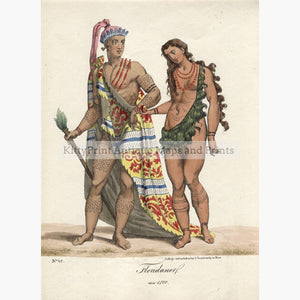 Set Of 2: Canadian And American Indigenous Costumes P.1824 Floridaner Von 1500 Prints