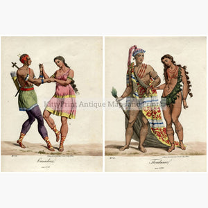 Set Of 2: Canadian And American Indigenous Costumes P.1824 2 Prints