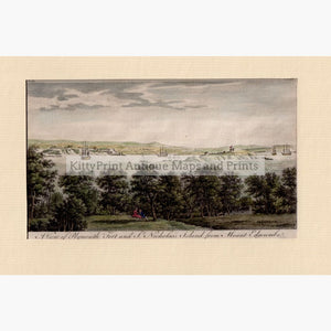 Set Of 2: Views Plymouth Fort And Mount Edgcumbe 1776 A View St.nicholas Island From Prints