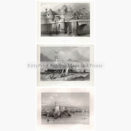 Set Of 3: Findens Ports And Harbours 1842 3 Prints