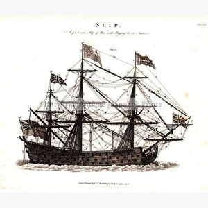 Ship of War 1822 Prints KittyPrint 1800s Maritime Military
