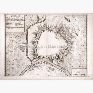 Siege of Vienna p.1693 Maps KittyPrint 1600s Austria Battles & Wars Town Plans