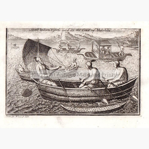 Small Indian Vessels used on the coast of Malabar 1745 Prints KittyPrint 1700s India & East Indies Maritime Seascapes Ports & Harbours