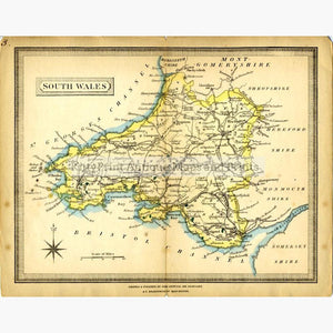 South Wales 1855 Maps KittyPrint 1800s Wales