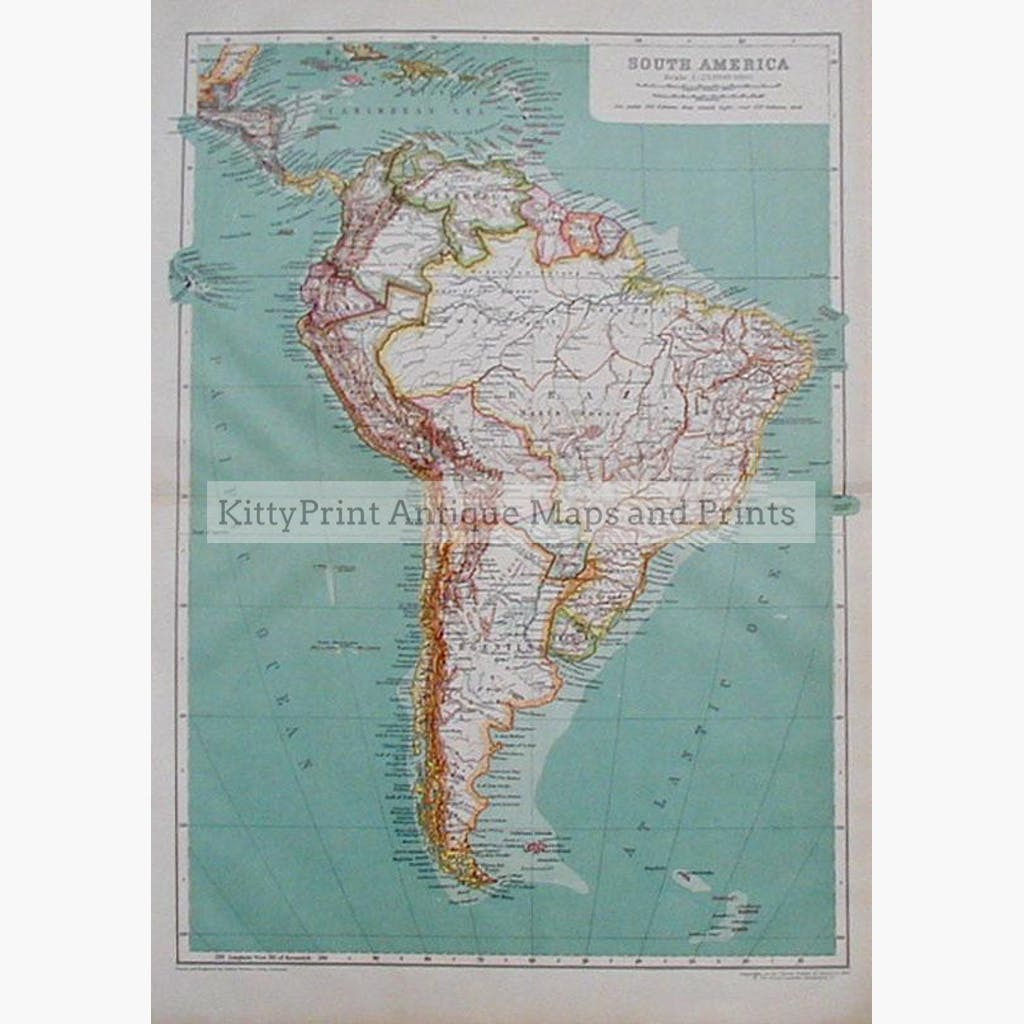 South America 1910 Maps KittyPrint 1900s Americas Regional Maps Central & South America