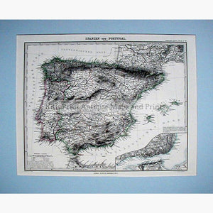 Spain and Portugal Spanien und Portugal 1876 Maps KittyPrint 1800s Spain & Portugal