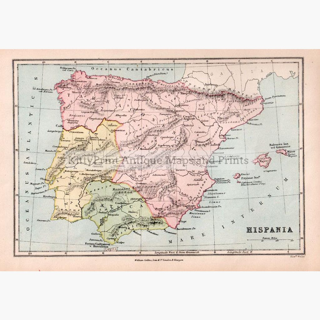 Map Of Spain To Print.Antique Map Spain Hispania 1873
