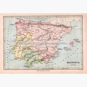Spain Hispania 1873 Maps KittyPrint 1800s Civilizations & Empires Spain & Portugal