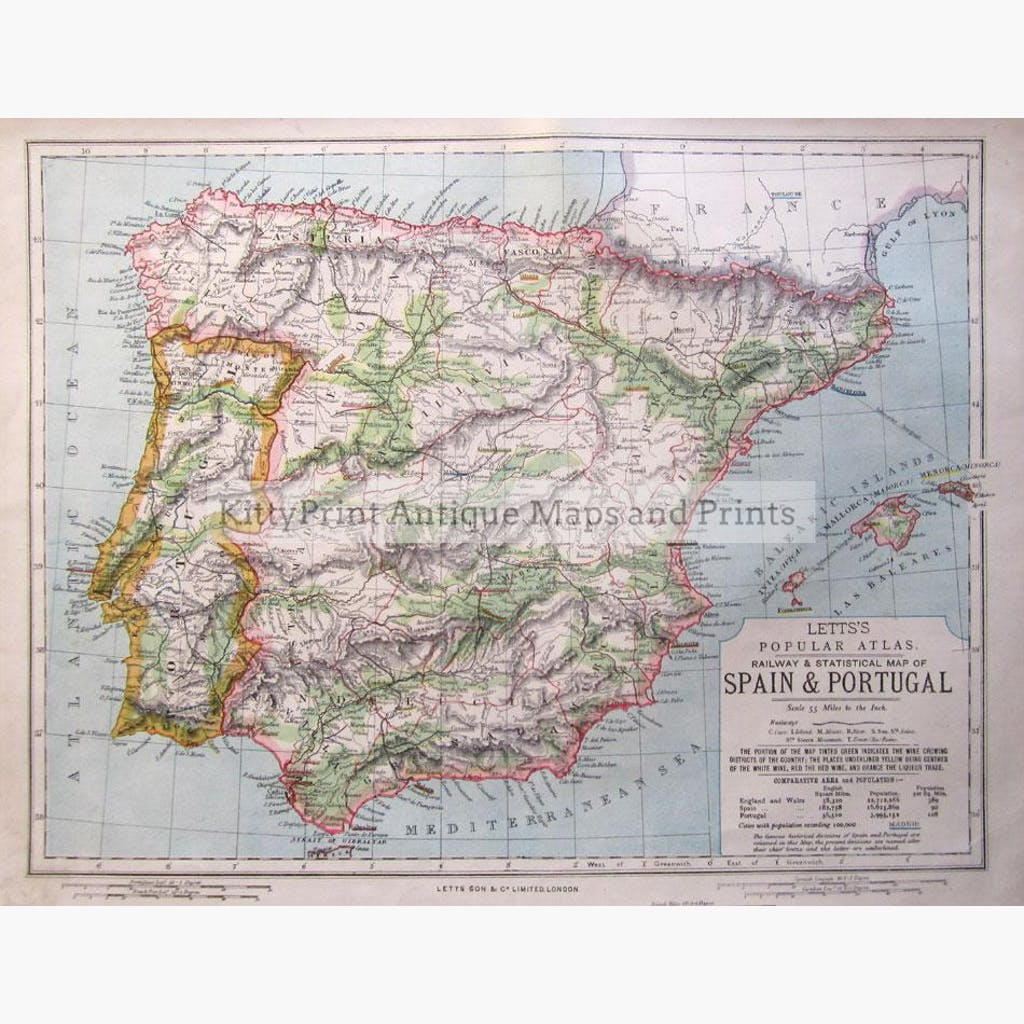Spain and Portugal Statistical Wine District and Railway Map 1881 Maps KittyPrint 1800s Land Use & Resources Road Rail & Engineering Spain & Portugal