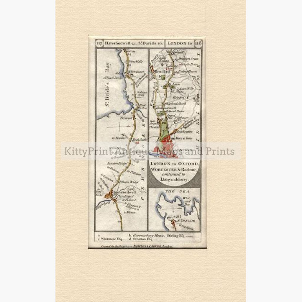 St.Bride's Bay Haverfordwest 1772 Maps KittyPrint 1700s Road Rail & Engineering Wales