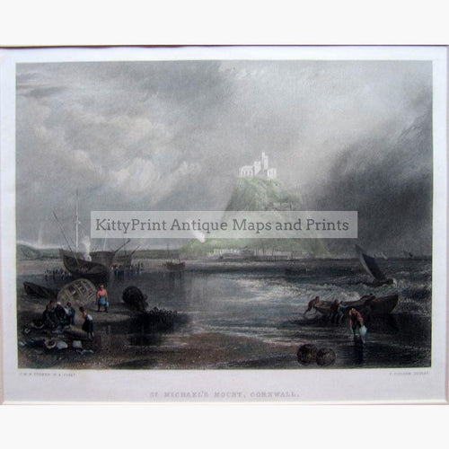 St.Michael's Mount Cornwall 1850 Prints KittyPrint 1800s Castles & Historical Buildings England Seascapes Ports & Harbours