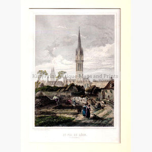 St.Pol de Leon c.1850 Prints KittyPrint 1800s Castles & Historical Buildings France Genre Scenes