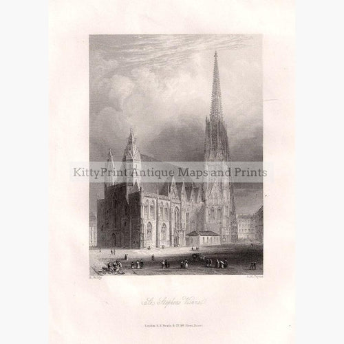 St.Stephens Vienna 1840 Prints KittyPrint 1800s Austria