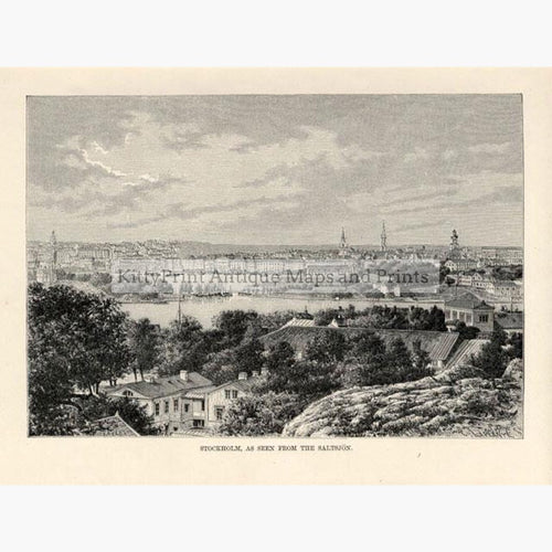 Stockholm 1875 Prints KittyPrint 1800s Scandinavia & Nordic Countries Townscapes