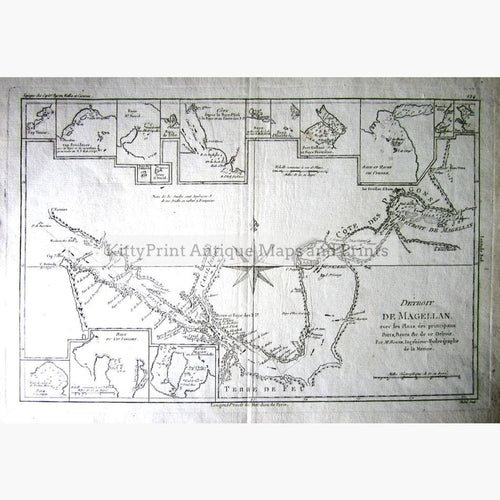 Strait of Magellan with plans of principle ports 1787 Maps KittyPrint 1700s Central & South America Sea Charts