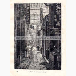 Street of Druggists Canton c.1880 Prints KittyPrint 1800s China Japan & Korea Genre Scenes