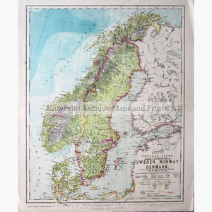 picture relating to Scandinavia Map Printable known as Antique Map, Sweden, Norway and Denmark,1886