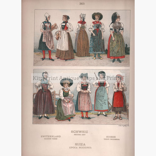 Swiss Folk Costume 2 C.1910 Prints