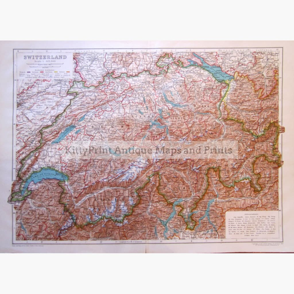 Switzerland ,1910 Kittyprint Maps