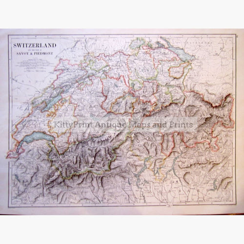 Switzerland And The Alps Of Savoy Piedmont C.1900 Kittyprint Maps