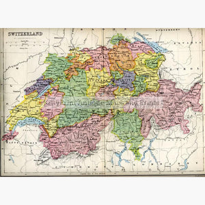 Switzerland c.1875 Maps KittyPrint 1800s Switzerland