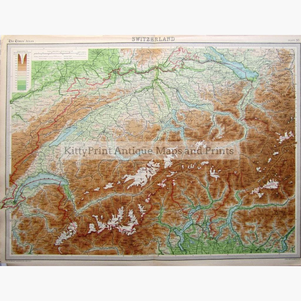 Switzerland Orographical Colouring 1922 Maps KittyPrint 1900s Contour & Relief Switzerland