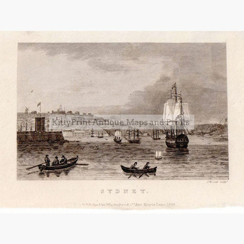 Sydney 1836 Prints KittyPrint 1800s Australia & Oceania Seascapes Ports & Harbours Townscapes