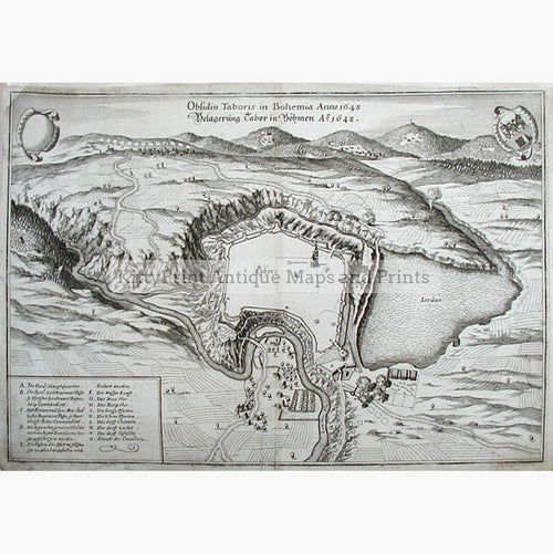 Tabor in Bohemia Obsidio Taboris 1648 Maps KittyPrint 1600s Battles Wars & Fortifications Eastern Europe Town Plans