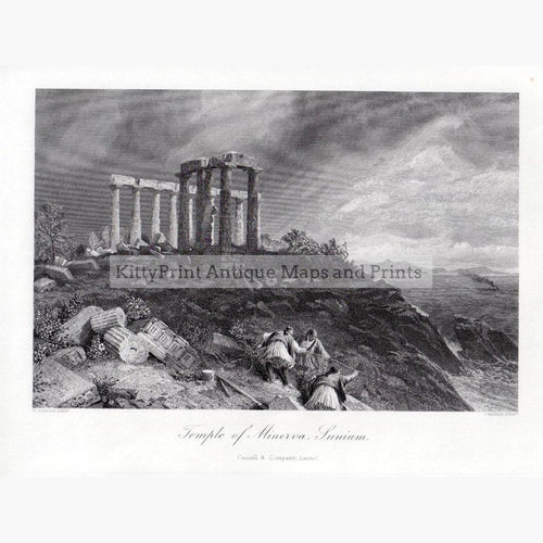 Temple of Minerva Sunium 1875 Prints KittyPrint 1800s Castles & Historical Buildings Greece