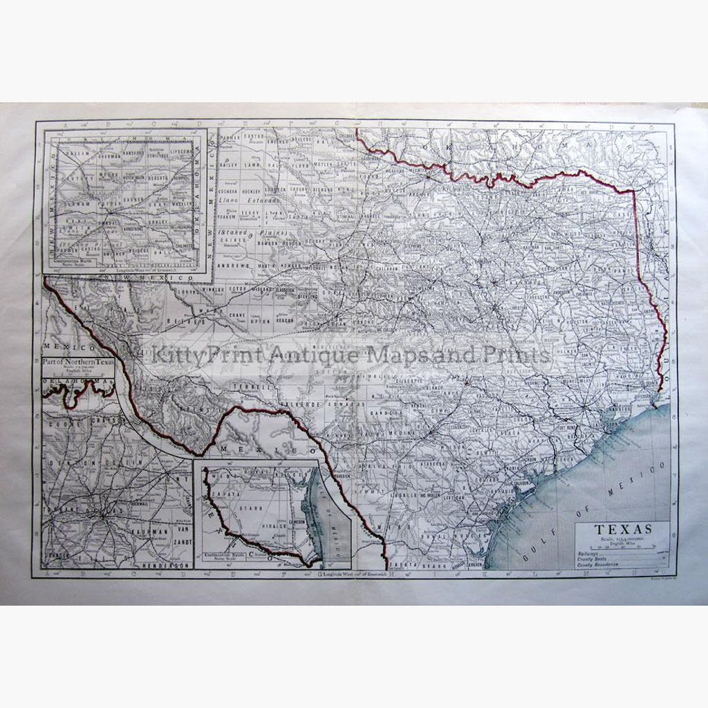 Texas 1910 Maps KittyPrint 1900s Canada & United States Road Rail & Engineering