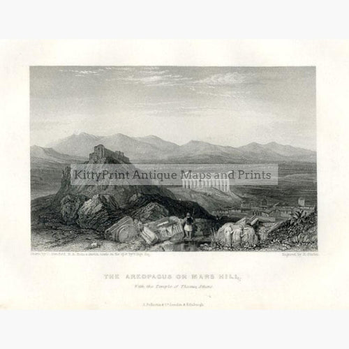 The Areopagus on Mars Hill 1856 Prints KittyPrint 1800s Castles & Historical Buildings Greece Landscapes