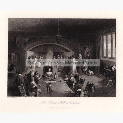 The Baron's Hall At Christmas 1844 Kittyprint Prints