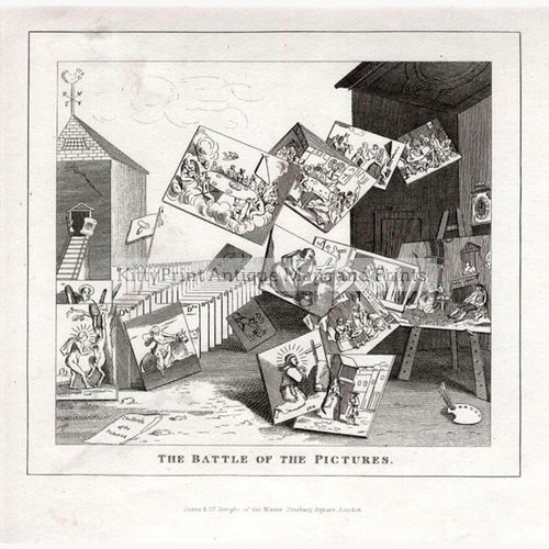 The Battle of the Pictures. Hogarth 1835 Prints KittyPrint 1800s Caricatures & Cartoons