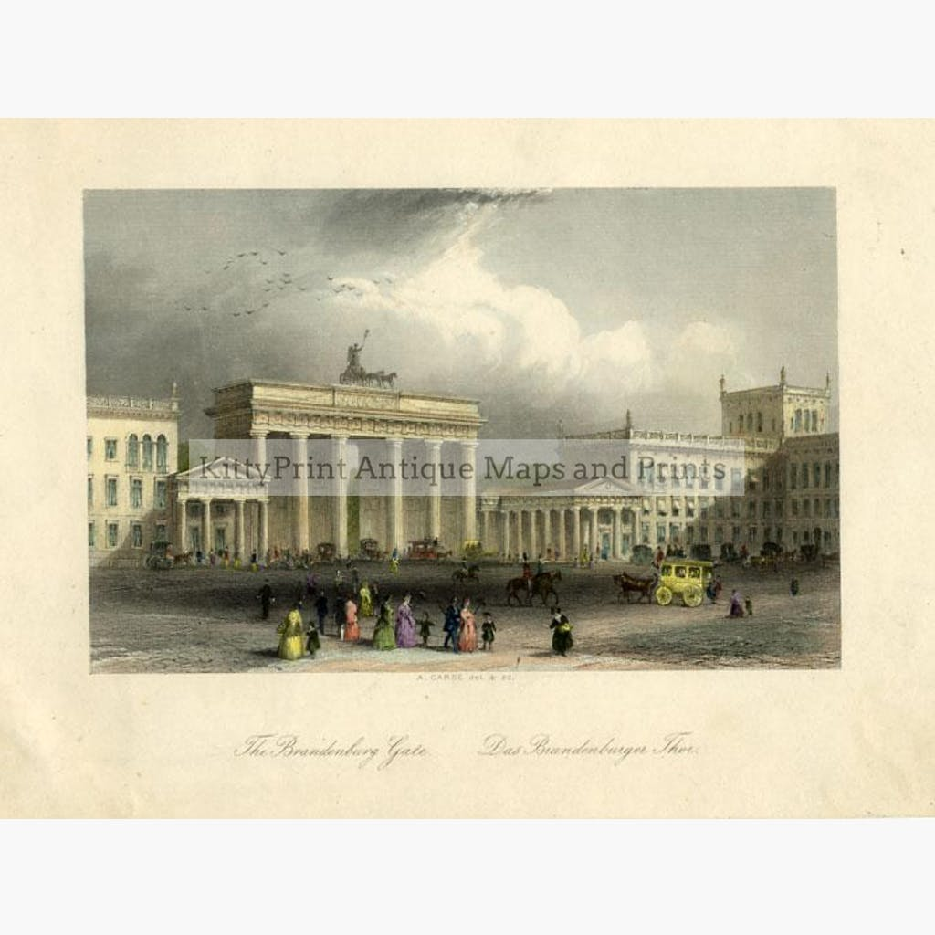 The Brandenburg Gate c.1838 Prints KittyPrint 1800s Castles & Historical Buildings Germany