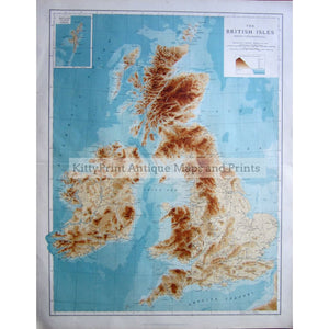 The British Isles (Bathy-Orographical) 1907 Maps