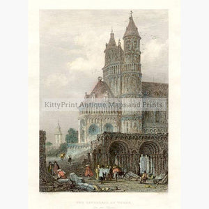 The Cathedral at Worms 1845 Prints KittyPrint 1800s Castles & Historical Buildings Germany