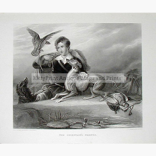 The Chieftain's Friends c.1860 Prints KittyPrint 1800s Dogs