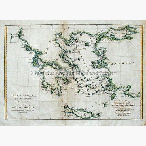 The Coasts of Greece and the Archipelago 1788 Maps KittyPrint 1700s Greece