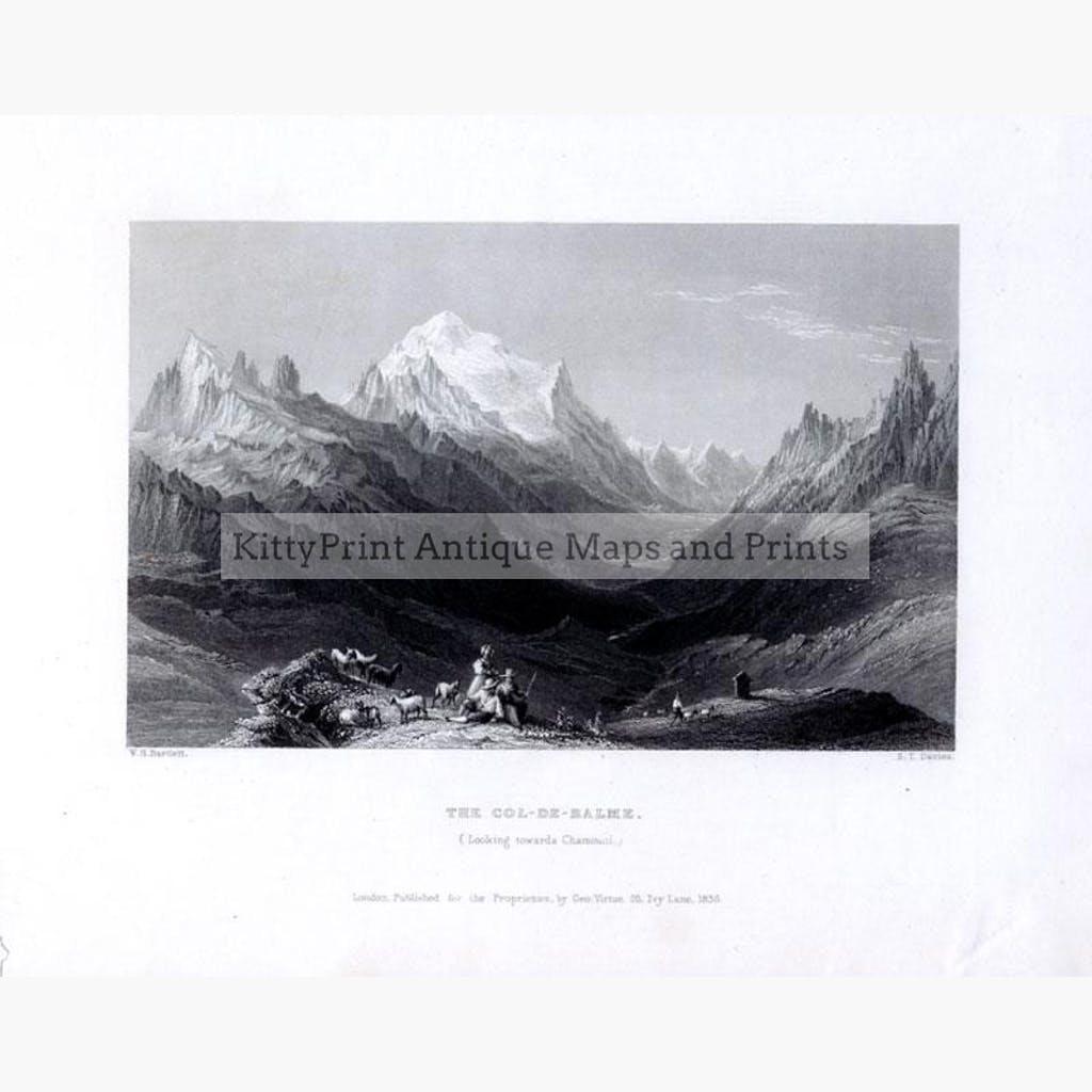 The Col-de-Balme. looking towards Chamoni 1836 Prints KittyPrint 1800s France Genre Scenes Landscapes