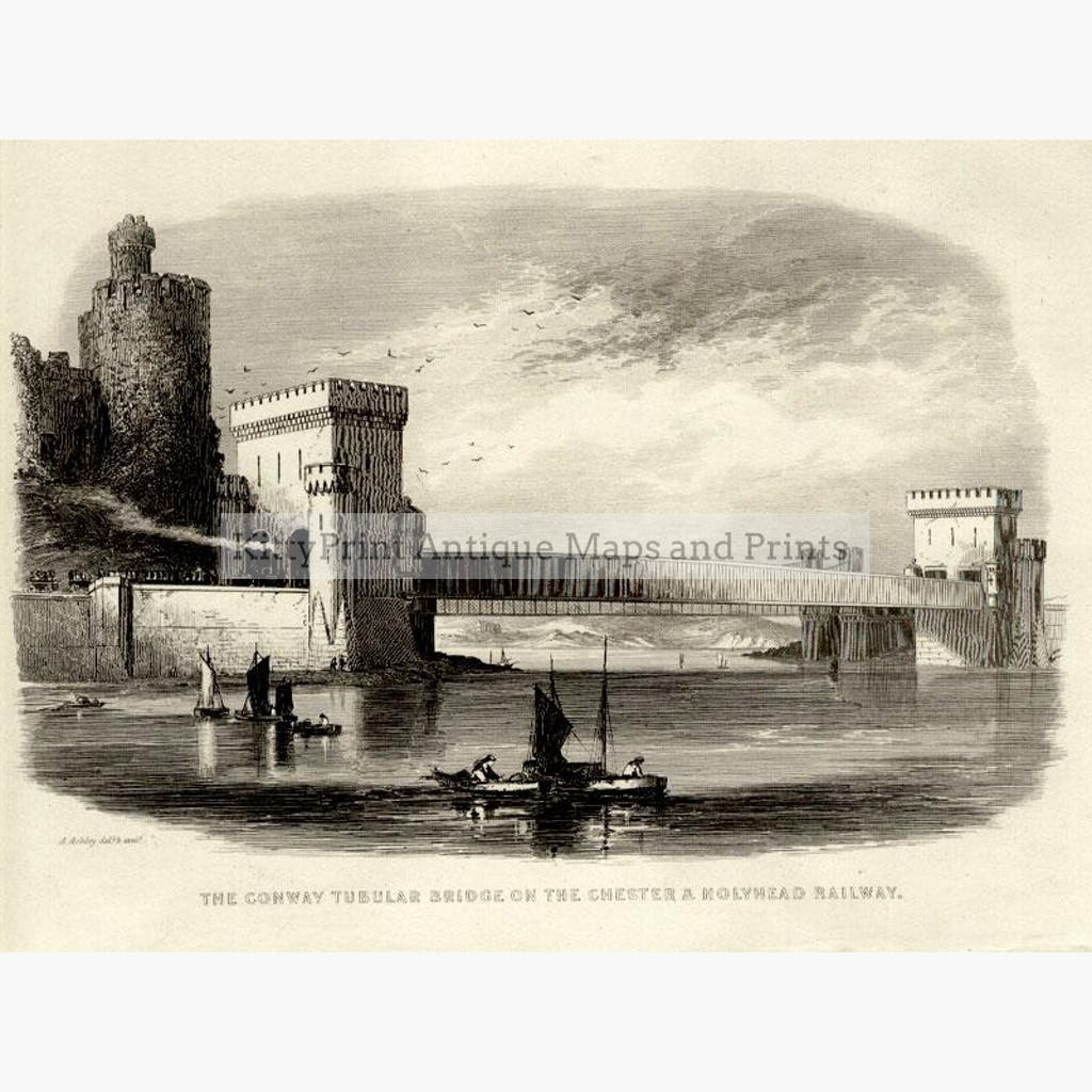 The Conway Tubular Bridge 1832 Prints KittyPrint 1800s Castles & Historical Buildings Seascapes Ports & Harbours Wales
