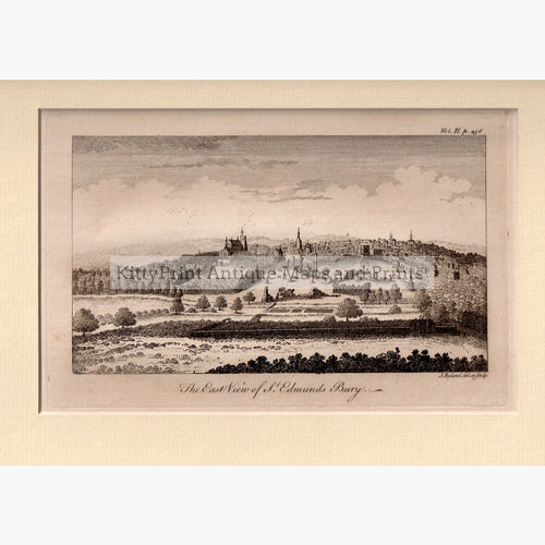 The East View of St.Edmunds Bury 1764 Prints KittyPrint 1700s Castles & Historical Buildings England England in the 1700s Townscapes