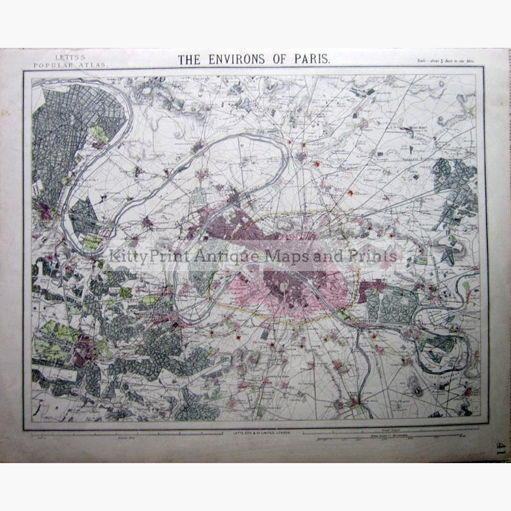 The Environs of Paris 1886 Maps KittyPrint 1800s France Town Plans