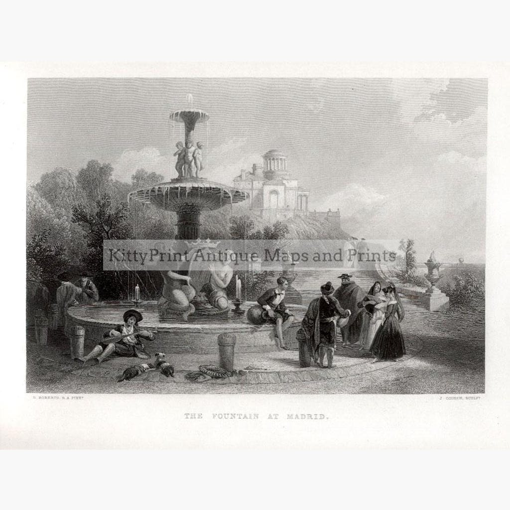 The Fountain at Madrid 1860 Prints KittyPrint 1800s Castles & Historical Buildings Genre Scenes Spain & Portugal Townscapes