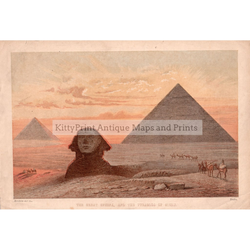 The Great Sphinx And Pyramids Of Gizeh,1869 Prints Kittyprint 1800S Arabia & Egypt Castles Historical Buildings Civilizations