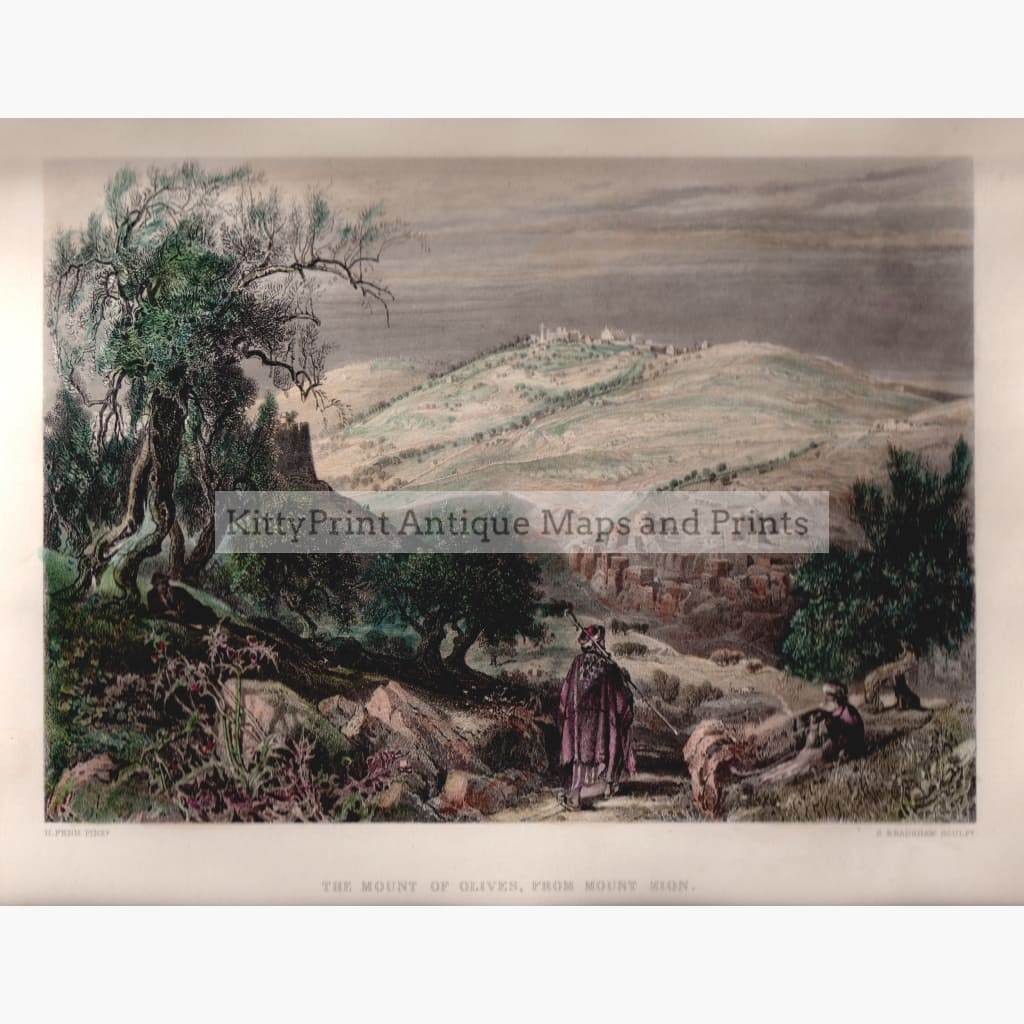 The Mount Of Olives From Zion C. 1850 Kittyprint Prints