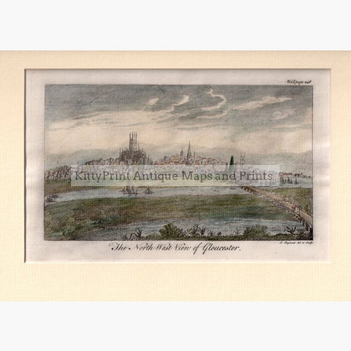 The North West View of Gloucester 1764 Prints KittyPrint 1700s Castles & Historical Buildings England England in the 1700s Townscapes