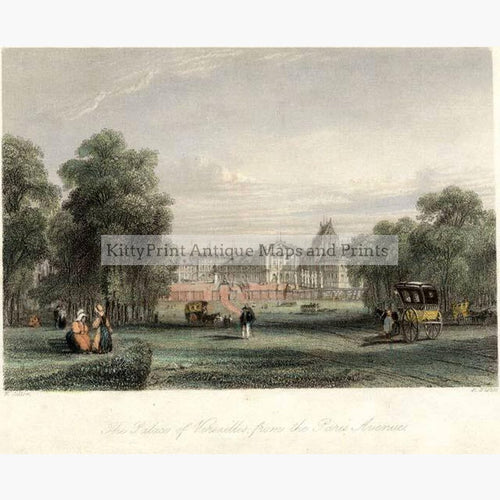 The Palace of Versailles c.1840 Prints KittyPrint 1800s Castles & Historical Buildings France Genre Scenes