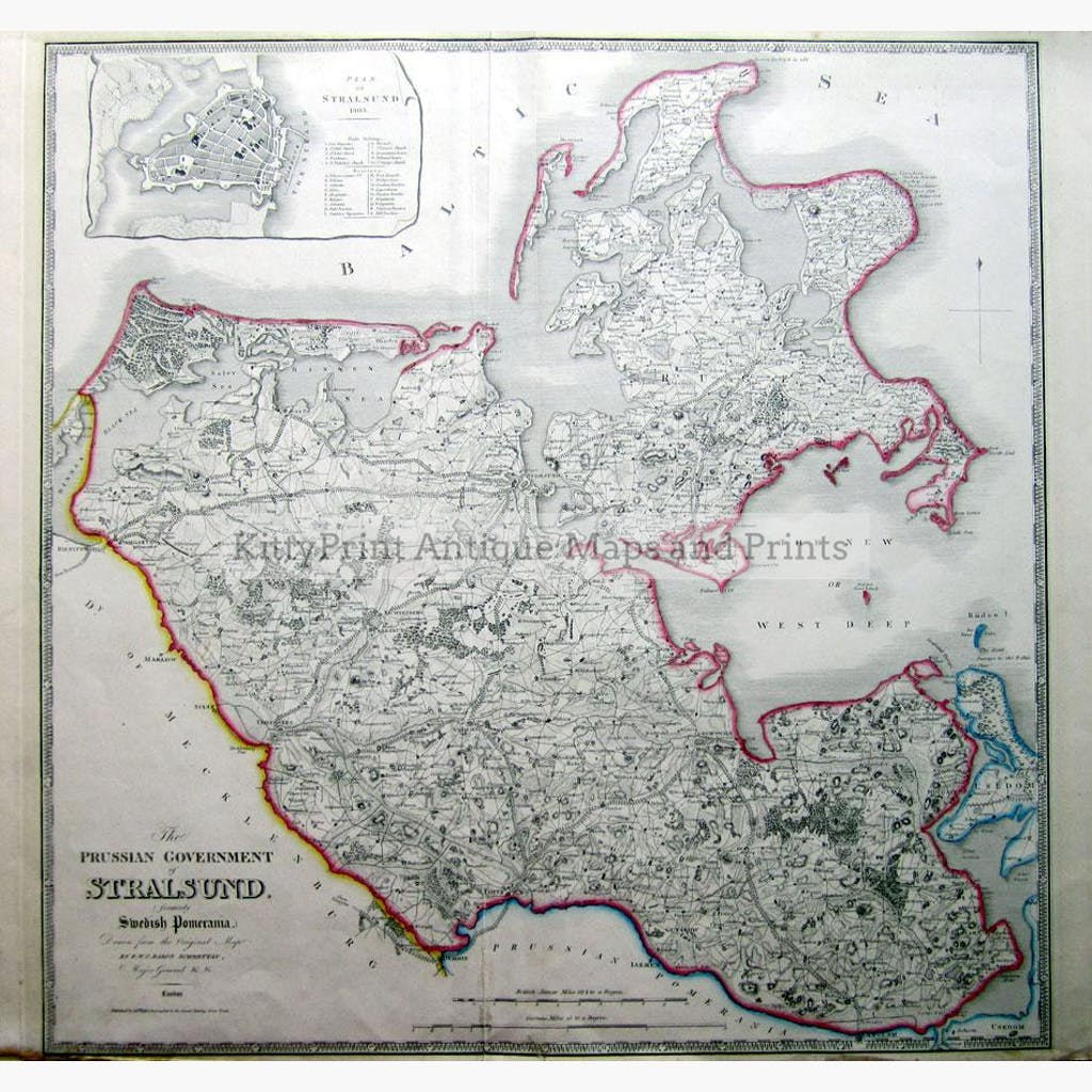 The Prussian Government of Stralsund 1803 Maps KittyPrint 1800s Germany Scandinavia & Nordic Countries Town Plans