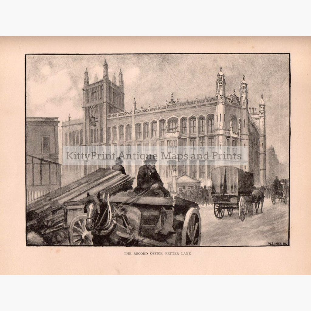 The Record Office Fetter Lane London 1891 Prints KittyPrint 1800s Castles & Historical Buildings England Genre Scenes