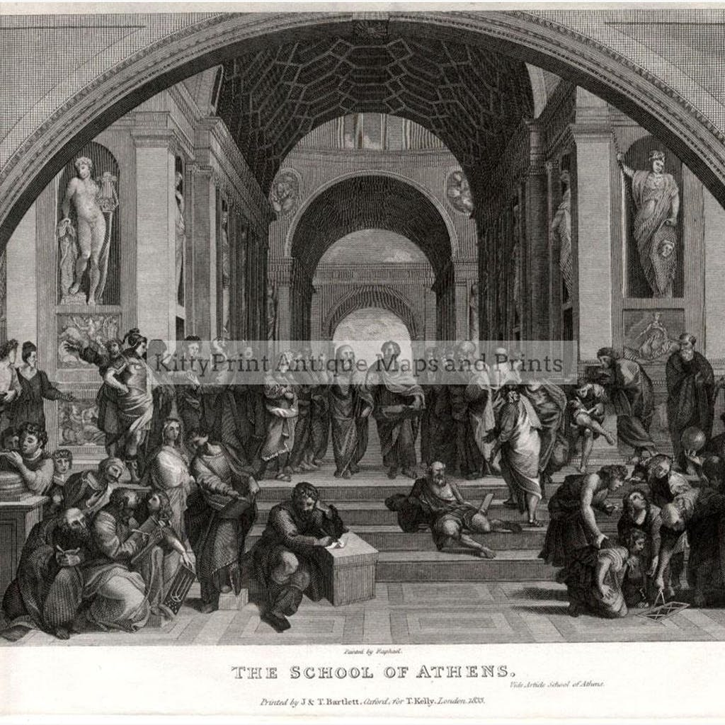The School of Athens 1833 Prints KittyPrint 1800s Castles & Historical Buildings Genre Scenes Greece